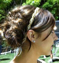 "Gold Crystal Headband, Wedding Bridal  Accessory, Tiara, Headpiece. WHITE or IVORY Satin Ribbons, Crystals, Rhinestones- ""Caraline"". $33.00, via Etsy."