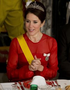Radiant: Crown Princess Mary of Denmark attended a formal gala dinner at Fredensborg Castle to welcome Mexican PresidentEnrique Peña Nieto and his wife, Angelica Rivera, to Demark