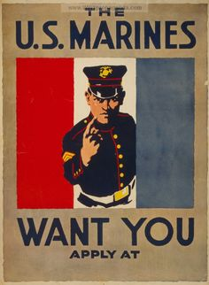 USMC Recruiting posters and advertizing of the American Civil War, WWI and WWII. Marine Corps Recruiting, Marine Corps Uniforms, Us Navy Uniforms, Us Marine Corps, Marine Corps Rings, Once A Marine, Marine Mom, Ww2 Posters, Retro Posters