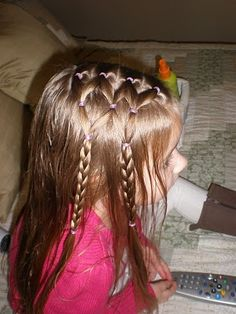 Gonna do this on boo boos hair!! her hair looks so pretty down and this will look neat and keep it out of her face :)