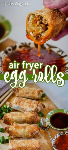 Make crispy homemade egg rolls in an air fryer! It is easy to make air fryer egg rolls at home without the mess and hassle of deep frying. These takeout favorites are crispy on the outside and filled tasty pork and cabbage. #airfryer #eggrolls #eggroll #AirFryerRecipes