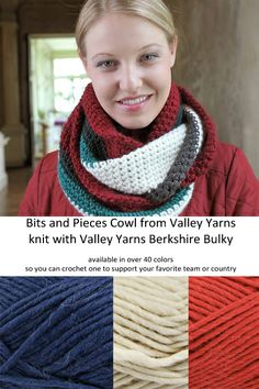 Bits and Pieces Cowl from Valley Yarns crocheted in Berkshire Bulky - http://www.yarn.com/product/valley-yarns-535-bits-and-pieces-cowl-patt...