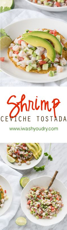 Shrimp Ceviche Tostada This was a DELICIOUS recipe SO so goodcannot say that enough. I subbed EVOO for the mayo because we prefer our ceviche lighter and not creamy. I served it w/ homemade tortilla chips and crackers (when the tortillas ran o Tostada Recipes, Fish Recipes, Seafood Recipes, Mexican Food Recipes, Cooking Recipes, Healthy Recipes, Cooking Tips, Mexican Desserts, Freezer Recipes