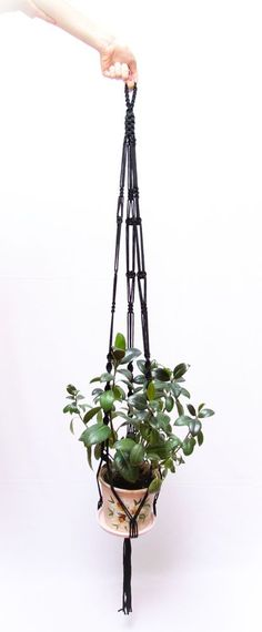 60 inches Black Macrame Plant Hanger 5mm Thick Cord Hanging Planter - Gift Idea