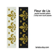 Fleur de Lis - 2 Drop Peyote Bracelet Pattern - INSTANT DOWNLOAD