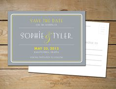 In green and gray :) 1920s Art Deco Vintage Wedding Save the Date by MyCrayonsPapeterie, $15.00
