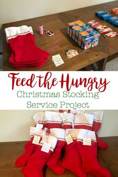 5 Little Monsters: Feed the Hungry Christmas Stocking Service Project A feed the hungry service project where we filled Christmas stockings to give to people who may be able to use it. Homeless Bags, Homeless Care Package, Christmas Service, Christmas Fun, Holiday Fun, White Christmas, Christmas Activities, Christmas Traditions, Service Projects For Kids