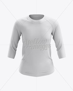 Women's Baseball Tee W/ 3/4 Sleeves Mockup - Front View