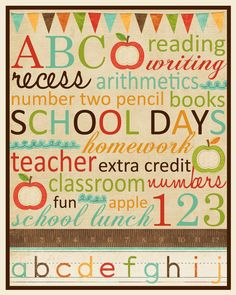 love the vintage colors, great for my classroom too