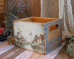 """Купить Короб деревянный """"Старые мельницы Луиса Ван Стаате"""" - коричневый, короб для хранения"""