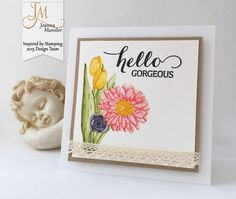 Inspired by Stamping, Spring Bouquet Stamp Set, Big Hello stamp set, thinking of you card