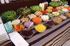 Wedding Food Chefs tossed various fresh items in front of guests at a salad bar. - Chefs tossed various fresh items in front of guests at a salad bar. Conference Luncheon Has Guests on Their Feet Wedding Food Catering, Wedding Buffet Food, Wedding Food Stations, Wedding Reception Food, Food Buffet, Reception Ideas, Wedding Ideas, Catering Food, Catering Ideas
