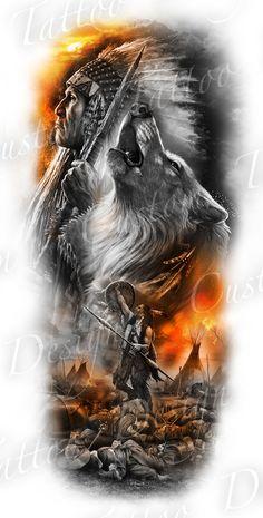 native sleeve design - Draw, Andrea Tattoo vorlagen Andrea native sleeve design - Draw, T Warrior Tattoo Sleeve, Wolf Tattoo Sleeve, Best Sleeve Tattoos, Tattoo Sleeve Designs, Tattoo Designs Men, Armor Tattoo, Native American Wolf, Native American Tattoos, Native Tattoos