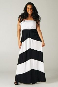 PLUS SIZE MAXI DRESS CHEVRON PRINT NAVY AND WHITE WITH SIDE ...