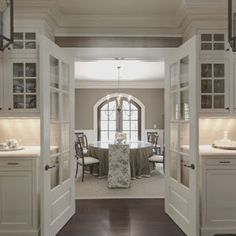 Ashley Gray - Benjamin Moore and doors from kitchen to dining.
