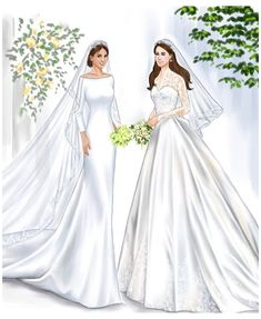 Royal Wedding Gowns, Royal Weddings, Wedding Dresses, Princess Wedding, Wedding Dress Illustrations, Wedding Dress Sketches, Princesa Kate, Kate Und William, Prince William