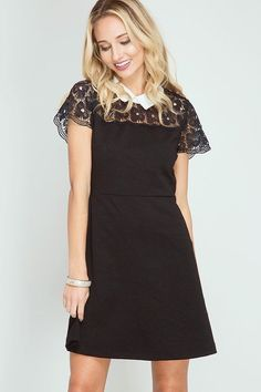 Lace Yoki Dress W/ Contrast Collar