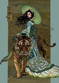 geisha, tiger, art