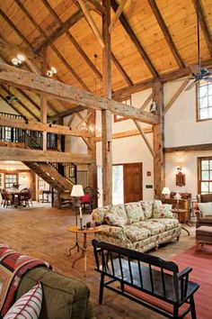 The Kuhls' guiding principle was to keep things simple and not to chop up the timber frame barn's into too many separate rooms.