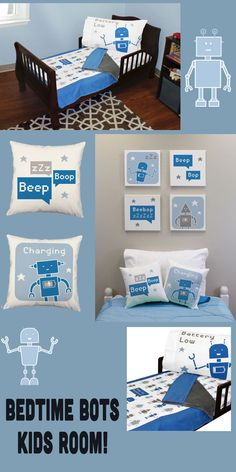Beep Boop ZZZzzz .... This friendly robot will help your little one power down for the night with a fun reminder to catch some zzz's and recharge their batteries.These adorable pillows feature blue an