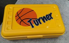 Personalized Pencil Box or Art Supply Container. Basketball choose your favorite team colors by MonogramCollection on Etsy