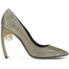Nicholas Kirkwood Closed Toe (811 410 LBP) ❤ liked on Polyvore featuring shoes, pumps, platinum, leather sole shoes, glitter pumps, glitter shoes, nicholas kirkwood shoes and geometric shoes