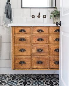Vintage card catalog as floating bathroom vanity // vintage modern bathroom - Home Professional Decoration Rustic Bathrooms, Modern Bathroom, Small Bathroom, Bathroom Vintage, Gray Bathrooms, Bathroom Accents, Boho Bathroom, Vintage Vanity, Master Bathroom