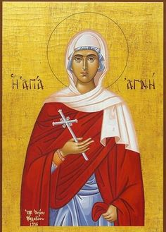 Orthodox icon of Saint Agnes, Virgin-martyr of Rome. Commemorated January 21st. The holy Virgin Martyr Agnes was born at Rome during the third century.When she