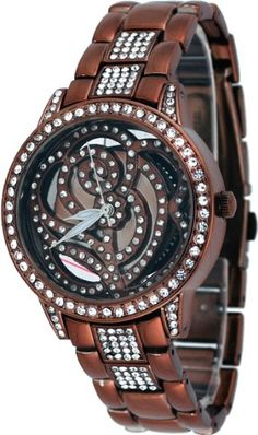 Mark Naimer #MN8045 Women's Fashion Accessory Bronze Tone Rhinestone Skeletonized Watch -