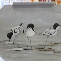 Plateau en bois art déco gris clair peint de motif avocettes