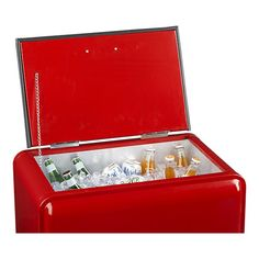 Retro Red Rolling Drink Cooler   A nostalgic way to keep beer & cocktails cold for parties. Built in bottle opener.