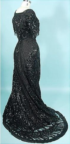 1912 Black Sequin, Beading and Lace Trained Evening Gown!