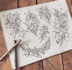 23 Ideas flowers design drawing pictures for 2019 Cute Flower Drawing, Floral Drawing, Flower Art, Drawing Flowers, Arte Floral, Floral Tattoo Design, Tattoo Designs, Tattoo Floral, Cover Up Tattoos