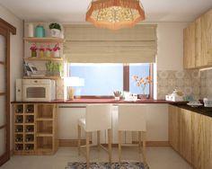 Столешница у окна, раздвижные двери в гостиную. Дизайн кухни на юго-западе Москвы.