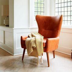 Erik Leather Wing Chair #westelm