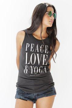 Peace Love Yoga Women's Muscle Tank Vintage Black