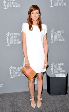 Opting for a simple yet sleek look, the funny lady stunned in a minimalist Yves Saint Laurent white shift dress.