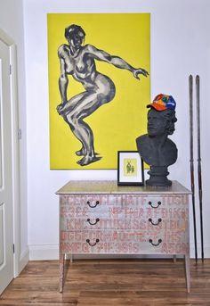 Halbherzigkeit gelb Malerei Pop-Art und Art-Deco London Wohnung 7 554 x 806