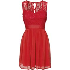 Elise Ryan Lace Top Chiffon Dress ($65) ❤ liked on Polyvore featuring dresses, short dresses, red, red dresses, vestidos, party dresses, womens-fashion, red dress, lace chiffon dress and mini dress