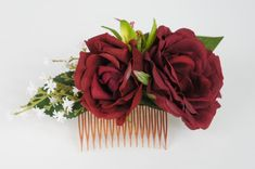 Hair Comb Dark Red Rose Green Orchid White Baby Breath-Weddings,Bridal,Bridemaid Dark Red Roses, Green Orchid, Flower Crowns, Hair Comb, Bridal Accessories, Orchids, Weddings, Flowers, Plants