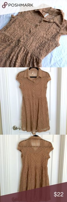 Bela D Caramel Brown Lace Dress Adorable Bela D Boutique Lace Dress in Caramel Brown. Cute cap sleeves and intricate lace design. Fits Size Small to Medium. Stretchy waist. Minimal piling. Lined. Bella D Dresses Midi