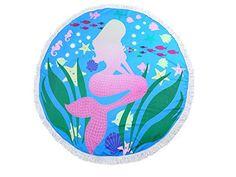 Round Cotton Beach Towel Aqua Blue Mermaid Print Wrap Poncho Tassel Trim 336575