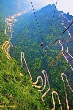 Tianmenberg in Hunan, China - 8 km, 99 hairpin turns