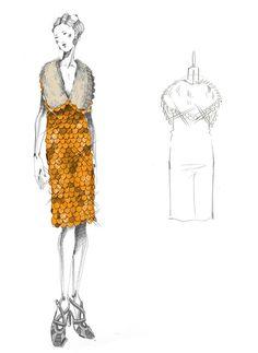 Croquis de Miuccia Prada pour la réalisation des costumes du film The Great Gatsby