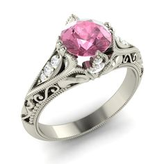 Certified pink Tourmaline & Diamond Vintage look Engagement Ring 14K White Gold  #Diamondere #SolitairewithAccents