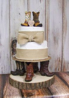 Rustic Cake Topper-Tree Slab Cake Plate with Cowboy Boots-Wedding Cake Topper-Barn Wedding