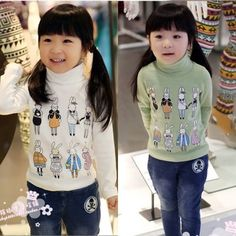 Kids Girls High Collar Cartoon Thick Stretchy 100% Cotton Shirt Tops 3-8 Y T069 | eBay