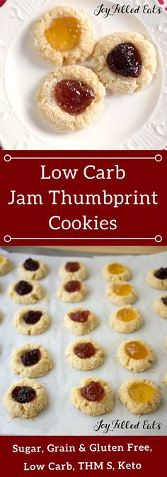 Low Carb Jam Thumbprint Cookies - Egg Gluten Sugar & Grain Free THM S - Jam Thumbprint Cookies are a holiday classic I don't think I've ever been to a cookie exchange where someone didn't make these. They are very easy to make pretty and tasty. Sugar Free Desserts, Sugar Free Recipes, Gluten Free Desserts, Cookie Recipes, Dessert Recipes, Low Carb Sweets, Low Carb Desserts, Diabetic Deserts, Healthy Desserts