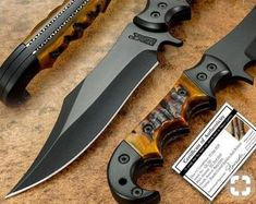 Custom Handmade Predator black coated bowie Hunting/Survival Knife with leather sheath Bushcraft Knives, Tactical Knives, Damascus Knife, Damascus Steel, Cool Knives, Knives And Swords, Pretty Knives, Skinning Knife, Ram Horns