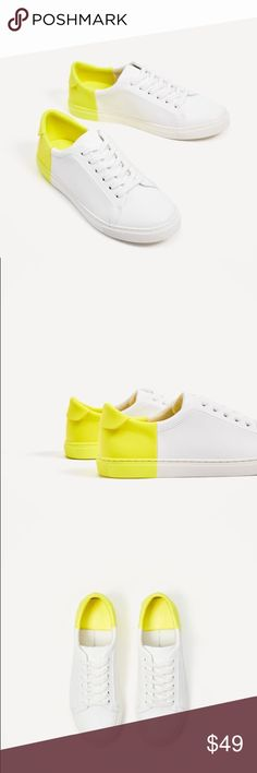 Zara two tone plimsolls -- size 8 Love lime yellow against white... brings interest to normal sneakers.... euro size 39 Zara Shoes Sneakers